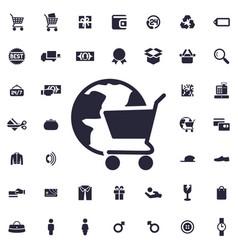 Globe cart icon vector