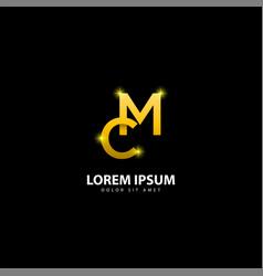Gold letter m logo mc letter design with golden vector