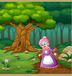Grandma in street of the forest vector