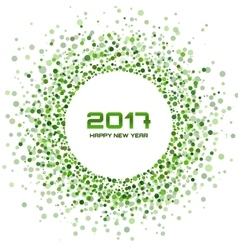 Green Circle New Year 2017 frame white Background vector image