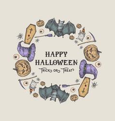 Halloween sketch wreath banner or card template vector