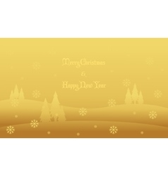 Hill winter scenery christmas silhouettes vector