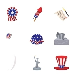 Holiday usa icons set cartoon style vector