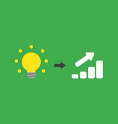 Icon concept of glowing yellow light bulb with vector