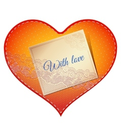 Lace heart card vector
