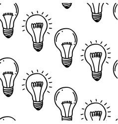 lamp light bulb hand drawn seamless pattern design vector image vector image