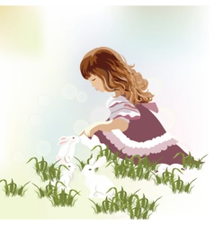 Little girl playing with rabbits vector