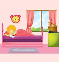 Little girl sleeping in bedroom vector