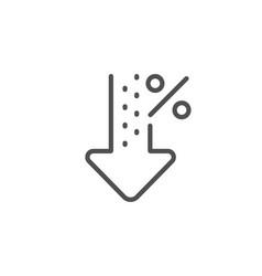 Low percent line icon discount sign decrease vector