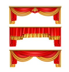 luxury curtains realistic composition vector image