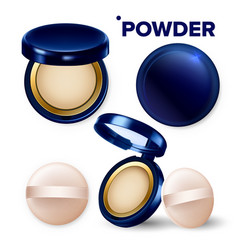 Makeup powder and puff compact cosmetic set vector