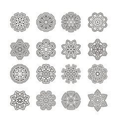 Mandalas ornament round set vector