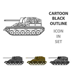 military tank icon in cartoon style isolated on vector image