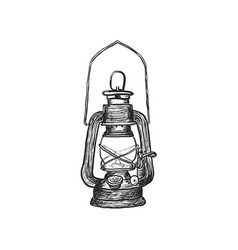Oil lamp vintage hand drawn lanterns vector