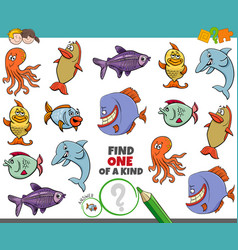 One a kind game for kids with sea animals vector