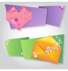 Origami notepaper folded note sheets with flowers vector image