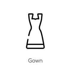 Outline gown icon isolated black simple line vector