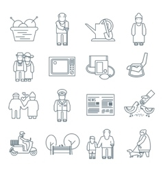 Pensioners life icons vector