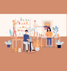 People characters work at ceramic workshop vector