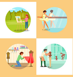people enjoying their hobbies flat vector image