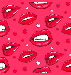 pink lips pattern abstract modern lipgloss vector image