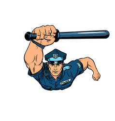 police officer with a baton vector image