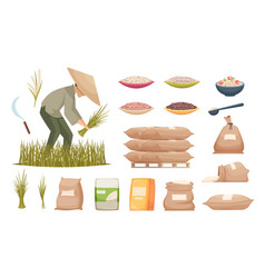 rice bags agricultural products brown and white vector image
