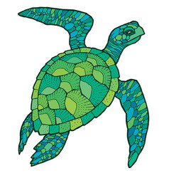 sea turtle - stylized drawing vector image