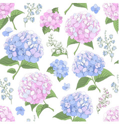seamless background with hydrangea flowers vector image