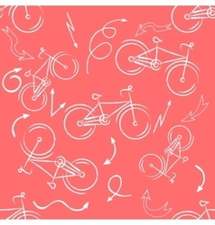 Seamless bicycles pattern white icons on red vector image