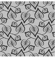 Seamless black leaves lace pattern on white vector