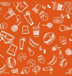 seamless pattern with american fast food vector image