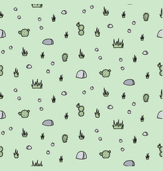 seamless pattern with desert - stone plant vector image