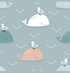 seamless pattern with whales and seagulls vector image