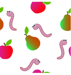 seamless texture consisting of a worm and fruit vector image