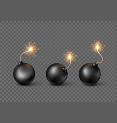 set bombs burning fuse black bomb in realistic vector image