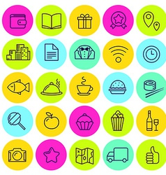 set of food icons and signs for cafe vector image