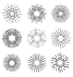 set sunburst elements on white background vector image