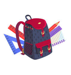 Side view on fashionable model kids backpack vector
