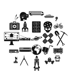 smart technology icons set simple style vector image