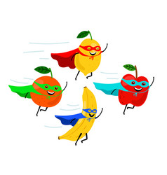 Smiling fruit superheroes vector