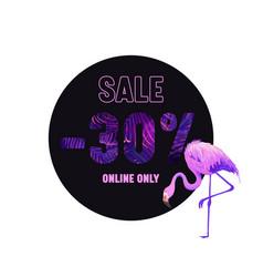 summer sale violet banner with pink flamingo vector image