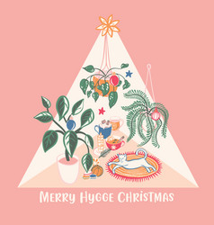 Super cute hygge christmas home chill out scene vector
