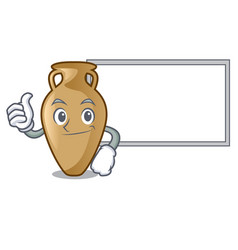 Thumbs up with board amphora character cartoon vector