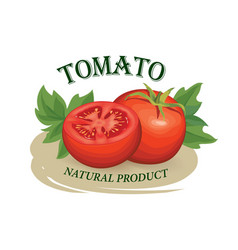 Tomato label vegetable logo retro sticker of vector