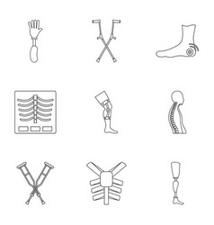 traumatology orthopedic icon set outline style vector image