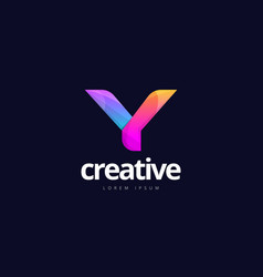 vibrant trendy colorful creative letter y logo vector image