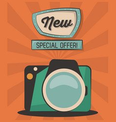 Vintage card new special offer camera photografic vector