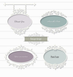 vintage filigree oval frames and signboard vector image