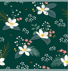 vintage floral with tropical leaves on dark green vector image